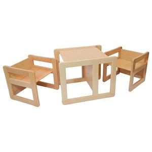 3 in 1 Kids Multifunctional Furnitures, 3-Piece Set, Natural