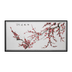 Oriental Furniture   Plum Blossoms Canvas Wall Art   Prints And Posters