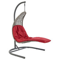 Landscape Hanging Chaise Lounge Outdoor Patio Swing Chair, Red