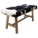 Foreign Affairs Home Decor - PANCHO Black & White Cowhide Bench with Wooden Legs - Modernist inspired cow hide bench PANCHO. Rectangular bench in expressive black & white cowhide with rustic wooden legs to create a sophisticated cultural mix. Use as addition to bedroom, entry hall or as additional seating any place you need it. Each item is unique due to the cowhide used.