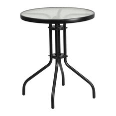 "Skovde Round 23.75'' Tempered Glass Metal Table, 28"""