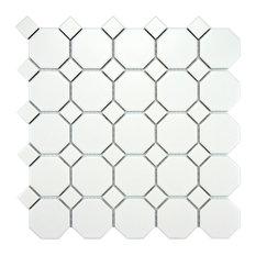 "11.5""x11.5"" Victorian Octagon Mosaic Tiles, Set of 10, Matte White With White Do"
