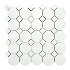 "SomerTile - 11.5""x11.5"" Victorian Octagon Matte White With White Dot Mosaic Tiles, Set of 10 - Mosaic Tile"