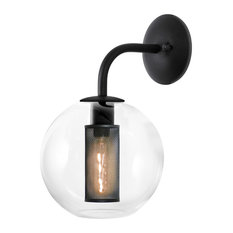 """Tribeca Sconce With Textured Black Paint Finish and Clear Shade, 10"""""""