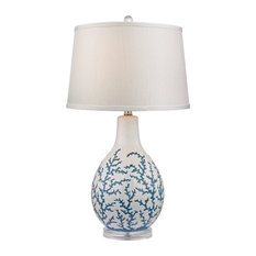 """27"""" Sixpenny Blue Coral Table Lamp, White"""