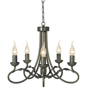 Traditional 5-Arm Chandelier, Optional Glass, Black-Gold