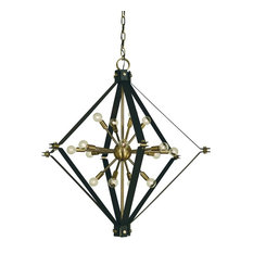 Framburg Axis 16-Light Foyer Chandelier, Polished Nickel with Black