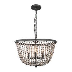 LNC 4-Light Transitional Beaded Chandelier Lighting