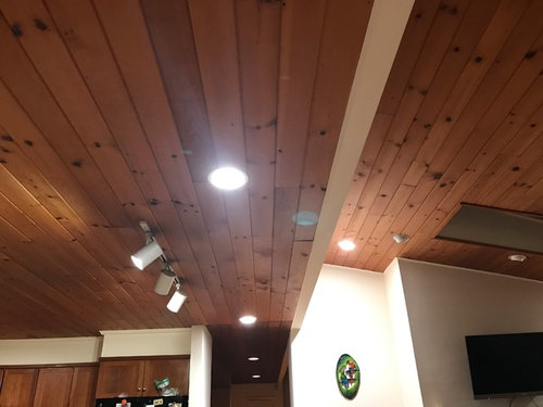 Pine Wood Ceiling Makes The Kitchen Very Dark Should We Paint White In Both Rooms Or Remove From Leave It As Is