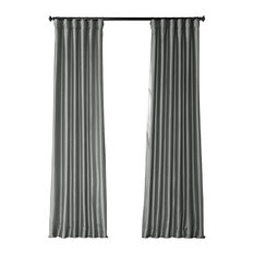 "Platinum Blackout Faux Silk Taffeta Curtain Single Panel, 50""x84"""