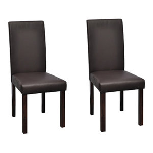 vidaXL Faux Leather Dining Chairs, Brown, Set of 2