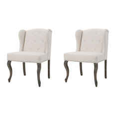 GDFStudio - Asheville Modern Fabric Wingback Chairs, Beige, Set of 2 - Armchairs and Accent Chairs