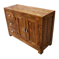 Appalachian Handcrafted Solid Wood 3 Drawer Rustic Sideboard Cabinet