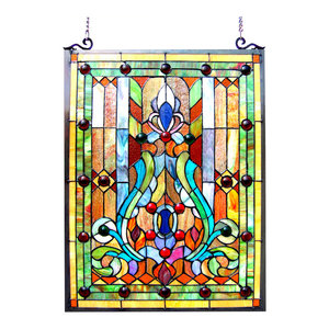 Chloe-Lighting Tiffany-Glass Victorian Window Panel