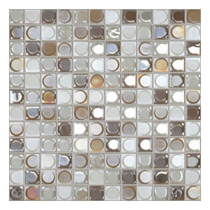 "12.5""x12.5"" Nude Blend White, Coffee, Gold Iridescent Glass Tile"