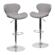 Contemporary Gray Fabric Adjustable Height Barstools With Chrome Base Set Of 2