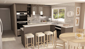 Kitchen with gray cabinets and white countertop