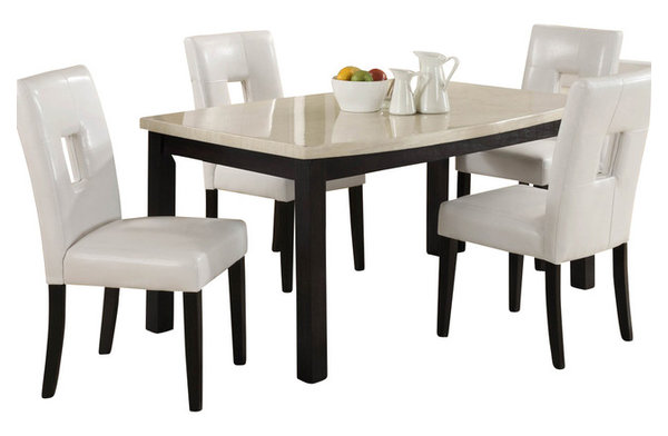 Homelegance Archstone 60 Inch Dining Table with Faux Marble Top ...