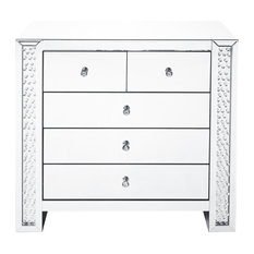 "39.5"" Crystal Five Drawers Cabinet, Clear Mirror Finish"