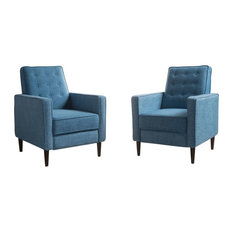 Marston Mid-Century Modern Button Tufted Fabric Recliner, Set of 2, Fabric/Muted