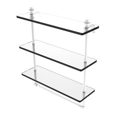 """Mambo 16"""" Triple Tiered Glass Shelf With Integrated Towel Bar, Matte White"""