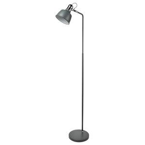 Scandi Single Floor Lamp, Matt Grey Chrome Detail
