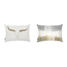 "Oliver Gal 2-Piece ""Desert Silver and Gold"" 14""x20"" Pillow Set"