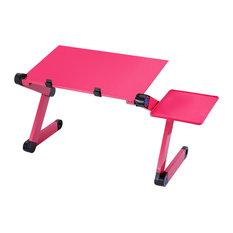 Modern Foldable Laptop Desk, Pink Aluminium With Mouse Platform and Fan Cooler