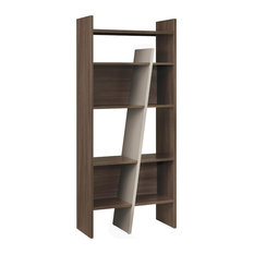Vermont Modern Bookcase With Taupe Divider, Smoked Walnut Finish