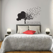 Birds Fly Away From Tree Matte Removable Wall Vinyl