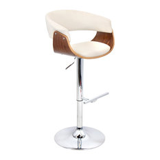 Lumisource Vintage Mod Bar Stool, Walnut and Cream