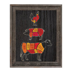 """Butcher's Chart Wall Art Print, 30""""x40"""" Mounted Canvas With Reclaimed Wood Frame"""