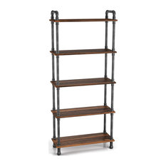Rustic Bookcase, Pipe Style Frame With Pine Wooden Shelves, Brown