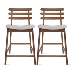 23.5 Seat Height Counter Height Stools With Back Cushion Brown Set of 2, Gray