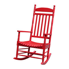 Oldham Porch Rocker With Turned Post, Red