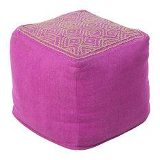 Surya Poufs Cube Pouf, Purple, Brown