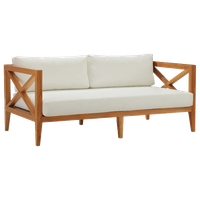 Modway Northlake Outdoor Patio Premium Grade A Teak Wood Sofa EEI-3427-NAT-WHI