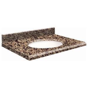 "Granite 25""x22"" Vanity Top, Single Faucet Hole, Baltic Brown, White Bowl"