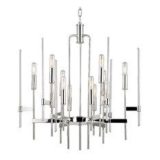 Bari, Twelve Light Chandelier, Polished Nickel Finish, Clear Glass
