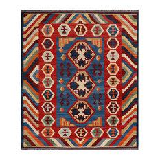 "ALRUG Handmade Multi-colored Oriental  Tribal Kilim,  7' 1"" x 8' 2"""