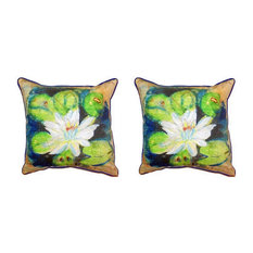 Pair of Betsy Drake Water Lily on Rice Large Pillows 18 Inch X 18 Inch