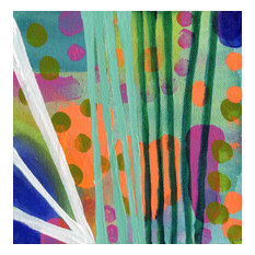 """""""Green Stripes"""" Painting on Canvas by Sara Franklin, 6""""x6"""""""