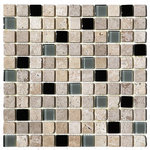 """Tilesbay - Blend Cafe Noche Glass Stone Mixed Tile, 1""""x1"""", Set of 50 - Cafe Noce 1x1 Glass and dark Stone Blend tiles are a beautiful blend of beiges, chocolates and creams. Best uses include wall applications in both residential and commercial properties for kitchens, baths,"""