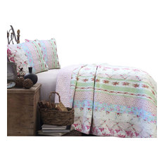 Blooming Spring Floral Reversible 100%Cotton Quilt Set, Twin Set