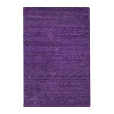 Plain Gabbeh Wool Rug, Deep Purple, 350x250 cm
