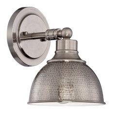 Timarron 1-Light Wall Sconce, Antique Nickel With Hammered Metal