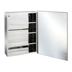 - Crizto Single Door Stainless Steel Mirror Cabinet - Bathroom Mirrors
