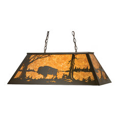 "33"" Buffalo At Lake Oblong Pendant"