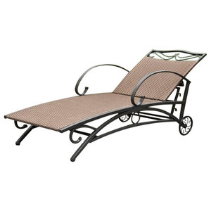 Pemberly Row Patio Chaise Lounge in Antique Brown