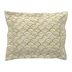 Mermaid Gold Gold Mermaid Cotton Pillow Sham, Euro